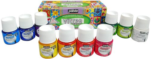 Pebeo Vitrea 160 Frosted Glass Paint Set, Cardboard Box of 10 Assorted 45-Milliliter Jars Frosted Glass Tiles
