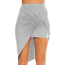 Womens Drape Up Stretchy Asymmetrical High Low Short Mini Bodycon Pencil Skirt, Heather Grey, Medium