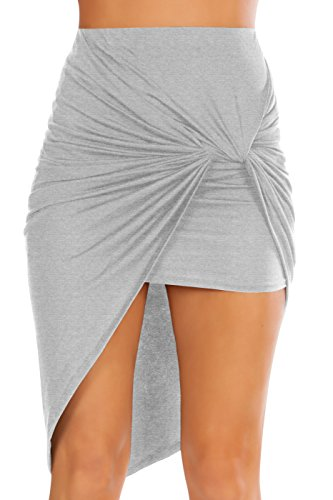 Simlu Women Drape Up Stretchy Asymmetrical High Low Short Mini Bodycon Pencil Skirt,Heather Grey,Large