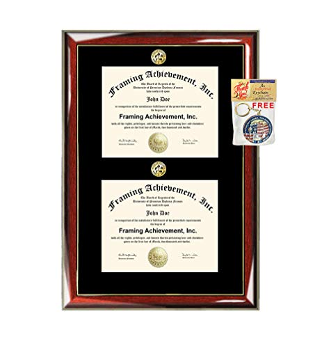 (Double Certificate Diploma Frame Two Gold Seal Insignia Logos Glossy Prestige Mahogany Gold Accent Award Wall Display Custom Plaque Promotion Document)
