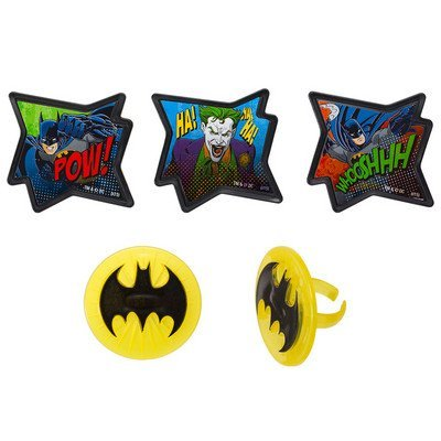DecoPac Batman - Pow Whooshhh and Joker - Cupcake Rings - 24 ct