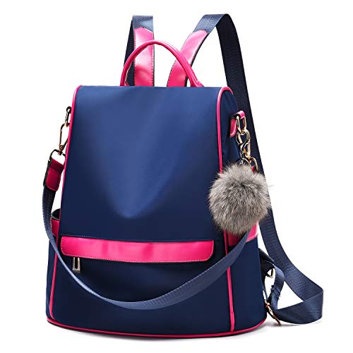 - Women Backpack Purse Nylon Anti-theft Fashion Casual Lightweight Travel School Shoulder Bag (Navy Blue)