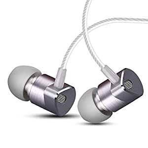 Wired Earbuds in Ear Headphones with Mic Dual Drivers Headphones Noise Cancelling Earbuds Balanced Armature with Dynamic Hybrid Headphones in Ear Monitor in-Ear Earphone (Gray)