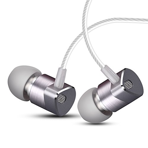 Earbuds In Ear Metal Dual Driver Earbuds Bass Earphone with Microphone Noise Isolating Wired TIMMKOO Earphones for iPhone Android Smartphones Tablets Laptop