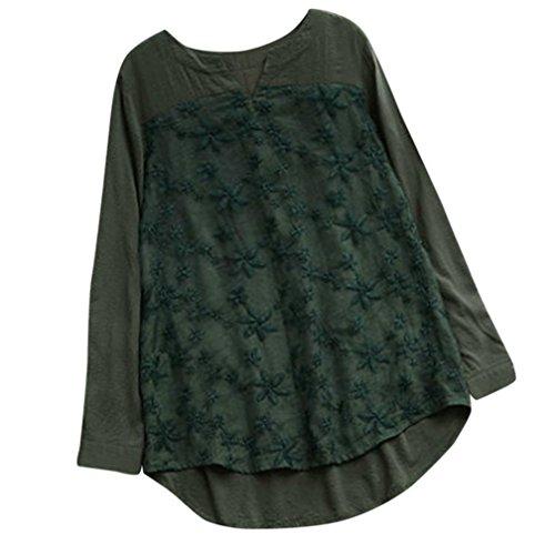 zahuihuiM Femmes Printemps Automne Mode Nouveau T-Shirt en Lin Solide Floral Dentelle Broderie V-Cou  Manches Longues Tops Blouses Vert