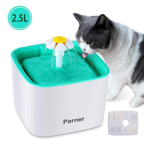 PARNER Pet Water Fountain, 2.5L Flower Pet Dispenser, Super Quiet Automatic Drinking Water Bowl for Cat & Dog