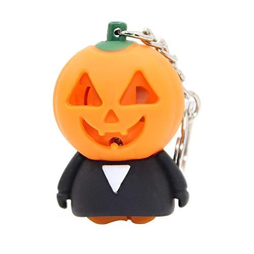 Amosfun Halloween Pumpkin Man Keychain LED Luminous Sound