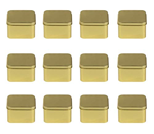 Juvale Square Tin Can with Lid - 12-Pack 6-Ounce Empty Cube Steel Box Storage Container for Treats, Gifts, Favors and Crafts, Gold, 2.5 x 1.75 x 2.5 Inches ()