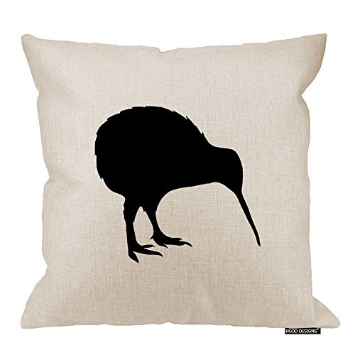 HGOD DESIGNS Kiwi Bird Pillow Cover - Decorative Pillow - Kiwi Pillow - New Zealand National Symbol Print Cushion - Bird Throw Pillow 18 x 18 ()