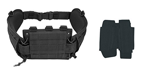 Ultimate Arms Gear Stealth Black MOLLE Web Duty Battle Belt + Double 40MM Grenade/M16 Mag Pouch For Taurus ()