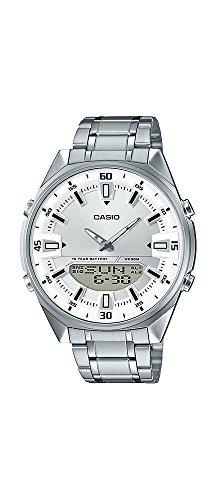 Casio AMW830D-7AV Men's Stainless Steel White Dial Analog Digital Telememo 30 - Mens White Digital Dial Analog