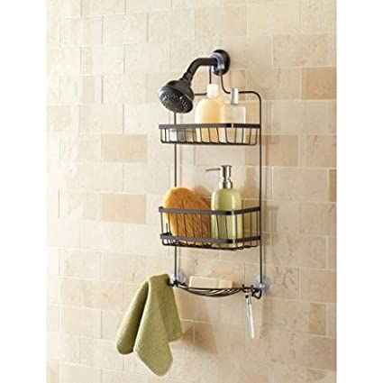 Amazon.com: Mainstays Premium Over the Shower Caddy, Bronze: Home ...