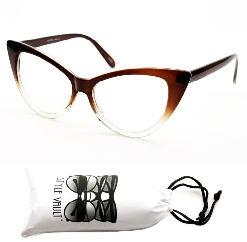 E19-vp Cateye Sunglasses (Omb CL Brown-clear Lens, - Glasses Style 1960s