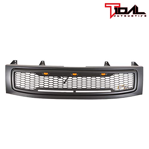 (Tidal Replacement Upper Titan Grille ABS Front Hood Grill - Matte Black - With Amber LED Lights for 04-07 Nissan Titan)