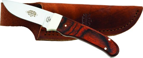 (Utica Cutlery 11-7962W Skinning/Caping Knife with Cocobola Wood Handle and Leather Sheath, 6.75-Inch, Brown Wood Color)