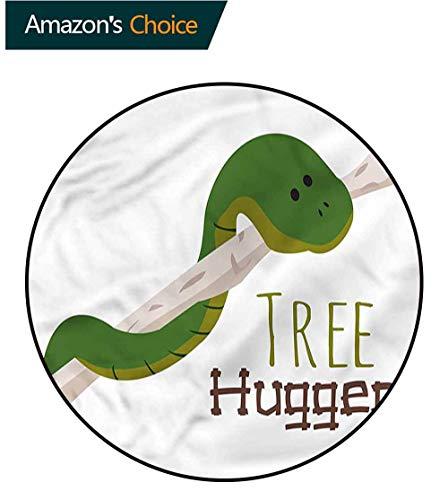 RUGSMAT Reptile Super Soft Circle Rugs for Girls,Cartoon Snake Mascot Love Pattern Floor Seat Pad Home Decorative Indoor Diameter-47 ()