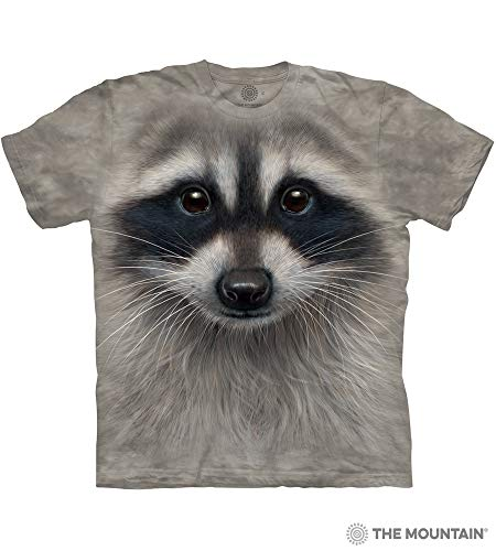 The Mountain Raccoon Face Adult T-Shirt, Grey, Large