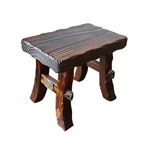 Funlea Antique Solid Wood Square Pouffe Footstool Ottoman Chinese Fir Home Entrance Change Shoe Bench Adults Plane Bench Sofa Stool Seat Kids Rectangle Seat Coffee Table Stool Chair (Wood Fir Chinese)