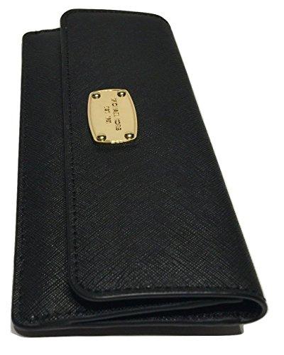 Michael Kors Jet Set Travel Flat Wallet Black Saffiano Leather