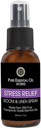 Pure Essential Oil Works Room & Linen Spray Mist, Stress Relief, 1.7 Ounce