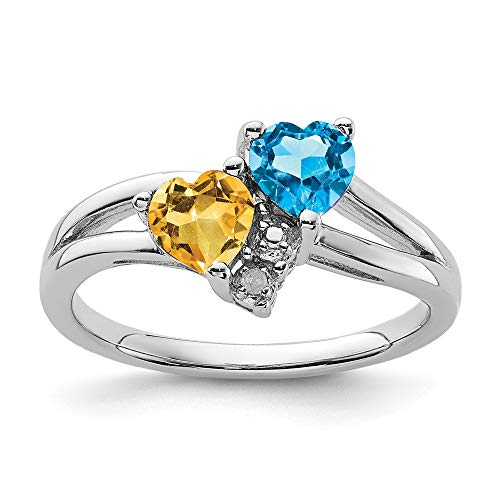 925 Sterling Silver Blue Topaz Yellow Citrine Diamond Band Ring Size 8.00 S/love Gemstone Fine Jewelry Gifts For Women For Her