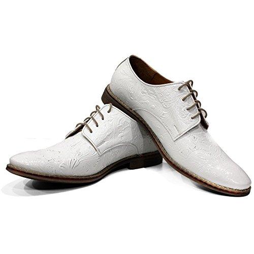 Pour Hommes Oxfords Vachette De Lacer Blanc Peppeshoes Modello Cuir Gaufré Des Handmade Italiennes Chaussures Chalk Cxn10XSqwH