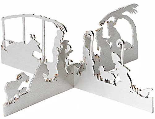 Modern Silhouette Nativity by Valerie Atkisson, Brushed Steel by Valerie Atkisson