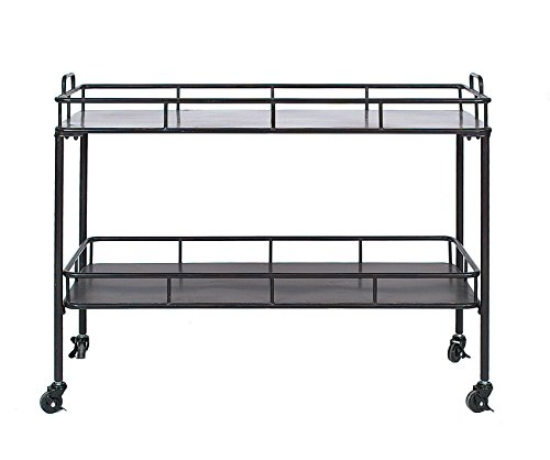 Creative Co-op DA2839 Metal Two-Tier Cart on Casters, Black by Creative Co-op