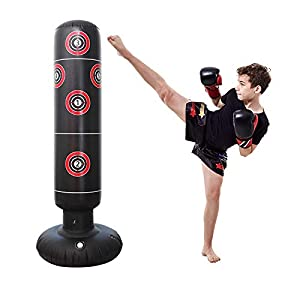 Well-Being-Matters 41DI7%2BEeybL._SS300_ Inflatable Punching Bag Freestanding Kid's Boxing Bag - Practice Target Columns, Durable PVC Material - Relaxing…