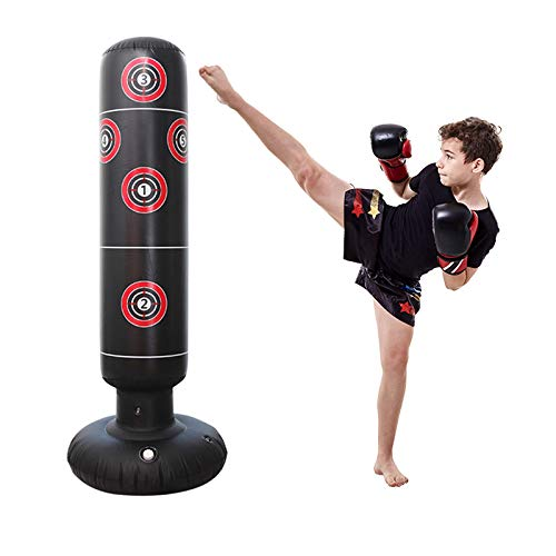Inflatable Punching Bag Freestanding Kid's Boxing Bag – Practice Target Columns, Durable PVC Material – Relaxing…