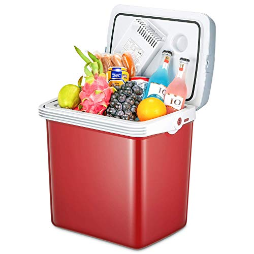 - TIBEK Electric Cooler and Warmer for Home,Office, Car or Boat with Automatic Locking Handle,27 Quart, 110V AC & 12V DC Portable Thermoelectric System with ECO Mode -Red