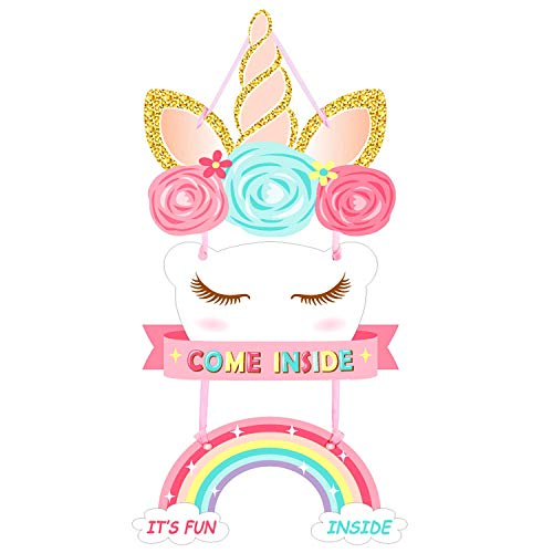 - Unicorn Party Supplies-Unicorn Themed Party Decoration-Unicorn Door Sign-Perfect With Unicorn Banner And Other Unicorn Party Supplies(Magical Rainbow Girls& Boys Design 1 Pack)