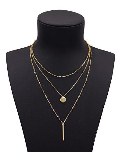 Daycindy Multilayer Long Disc Bar Pendant Necklace With Beads Y Lariat Chain Jewelry for (Layered Disc Necklace)
