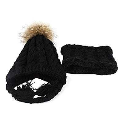 YOcheerful Baby Knit Hat Solid Head Knitwear Winter Cute Toddler Knitted Knitwear Kids Girls Boys Hat Cap+Scarf