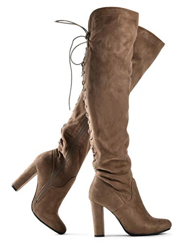 Size 17 High Heels (Zoe Stretch Thigh High Boots - Trendy Comfortable Block Heel - Over The Knee Pullon Sexy Back Lace Up Dark Dark Taupe)