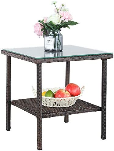 Patio Side Table Storage Outdoor PE Wicker Brown Rattan Tables Storage Patio Furniture Garden Deck Pool Glass Top Tea Table Metal-Brown