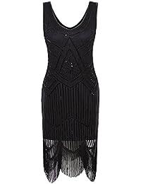 Women's 1920s Gastby Inspired Sequined Embellished Fringed Flapper Dress