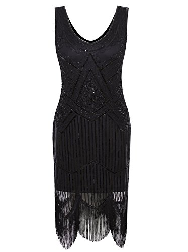 Vijiv Women's 1920s Gastby Inspired Sequined Embellished Fringed Flapper Dress, Pure Black, Small ()