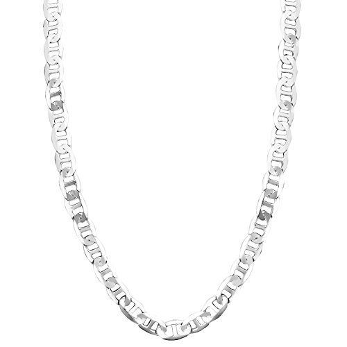 Honolulu Jewelry Company Sterling Silver 4.5mm - 8mm Mariner Link Chain Necklace or Bracelet, 7.5 - 28