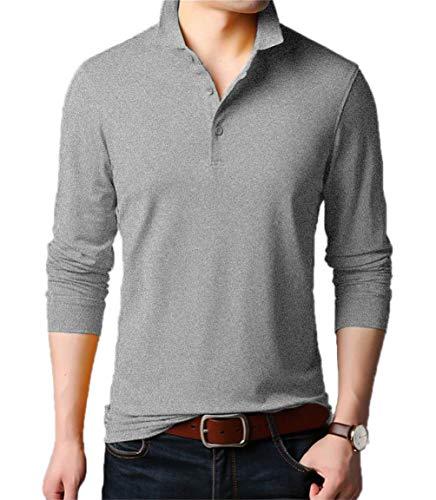 Aiyino Men's Dry Fit Long Sleeve Polo Golf Shirt Cotton T Shirts M Long Sleeve-Grey