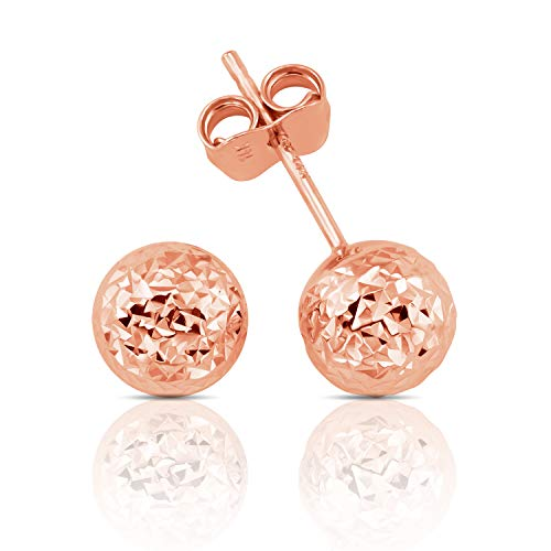 (14K Gold Hammered Finish Ball Stud Earrings for Women and Girls (rose-gold))
