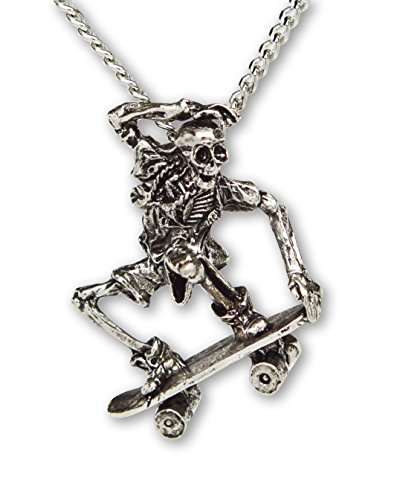 Real Metal Urban Skeleton in Nose Grab on Skateboard Silver Finish Pendant Necklace