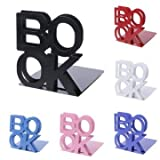Alphabet Shaped Metal Bookends Iron Support Holder Desk Stands for Library Office School