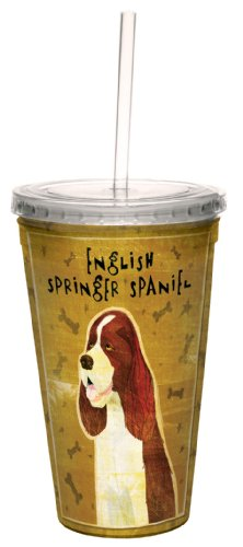 Tree-Free Greetings cc33984 English Springer Spaniel by John W. Golden Artful Traveler Double-Walled Cool Cup with Reusable Straw, 16-Ounce