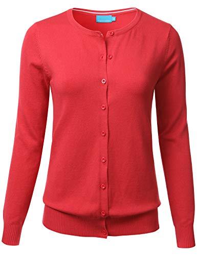 FLORIA Women's Button Down Crew Neck Long Sleeve Soft Knit Cardigan Sweater DARKCORAL 2XL ()