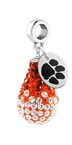Clemson University Tigers Crystal Dangle Charm - Fits All Bracelets