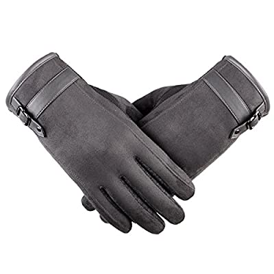 Touch Screen Leather Gloves, iKNOWTECH Premium Women's Suede Leather Warmer Cycling Texting Gloves for Apple iPhone 7Plus,7,6S Plus,6, Samsung Galaxy Phones and More