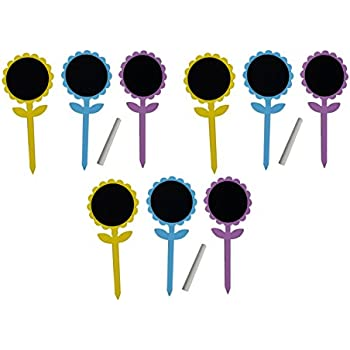 Flower Chalkboard Garden Stakes   9 Pack With Chalk