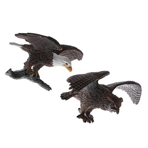 Perfk 全2点 リアル 子ども ギフト 動物玩具 フクロウ禿げ鷲モデル 模型 フィギュア おもちゃ 贈り物の商品画像