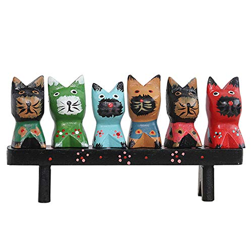 DSZXHN Statues for Home Decor,Creative Vintage Wooden Painted Mini Cute covid 19 (Cat Fishing Sculpture coronavirus)